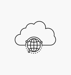 Network city globe hub infrastructure line icon vector