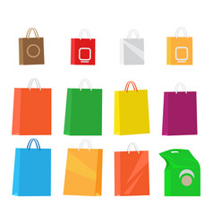 Paper packages for shopping collection on white vector