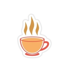 Paper sticker Indian tea cup on white background vector
