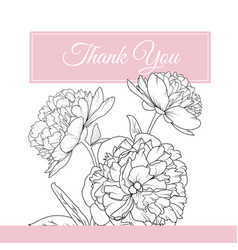 peony rose flowers bouquet thank you card template vector image