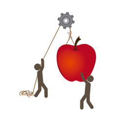 People with pulleys hanging the apple fruit vector