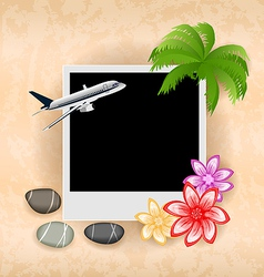 Photo frame with plane palm flowers sea pebbles vector image
