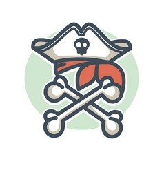 Pirate icon flag of crossed bones and vector