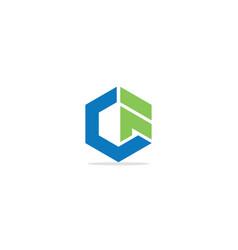 polygon shape geometry g initial logo vector image