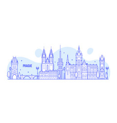 prague skyline czech republic city building vector image