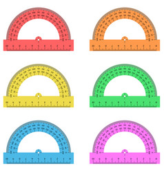 Protractor ruler of plastic transparent vector