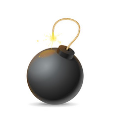 Realistic detailed 3d black bomb explosion vector