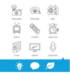 retro camera radio and phone call icons vector image