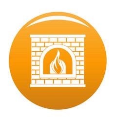 Retro fireplace icon orange vector