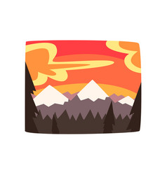Rocky mountains at sunset beautiful nature vector