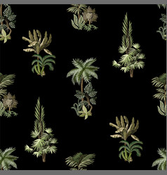 seamless pattern with exotic trees vector image