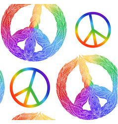 Seamless texture with rainbow symbol of peace vector