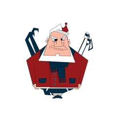 Serious Santa going skiing vector image