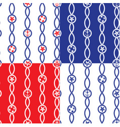 Set of seamless nautical patterns on blue red vector