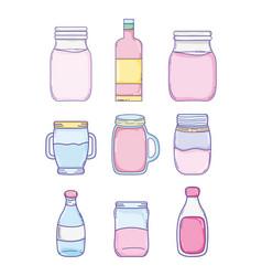 set of summer cartoons vector image