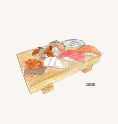 Set of sushi japanese food hand drawn water vector