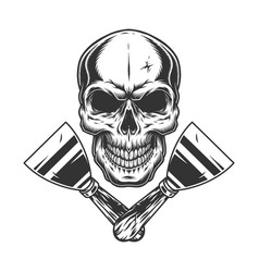 skull and putty knives monochrome concept vector image