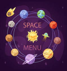 Solar system with planets spaceship and asteroid vector