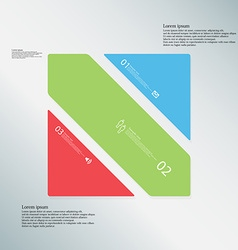 Square template consists of three color parts on vector