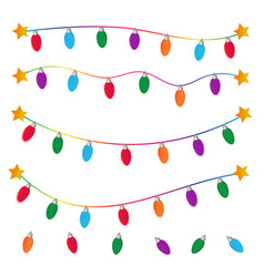 String of christmas lights on white background vector