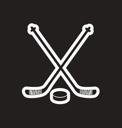 Stylish black and white icon stick and puck vector