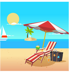 summer beach umbrella chair yawl island background vector image