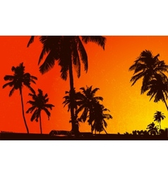 Sunset View with Plam Tree vector