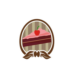 sweet cakes slices with ribbon vector image