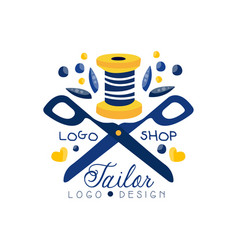 Tailor shop logo design sewing company fashion vector