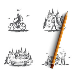 travel - riding bicycle hiking in forest going vector image