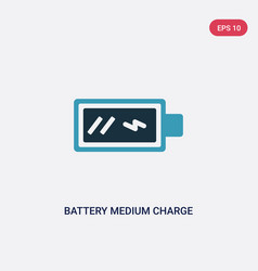 Two color battery medium charge icon from user vector