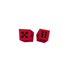 Two falling red casino dices gambling devices vector