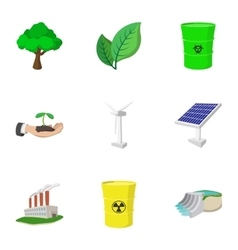 Types of energy icons set cartoon style vector