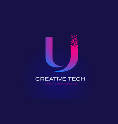 U initial letter logo design with digital pixels vector