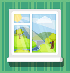 view from windows spring or summer landscape with vector image
