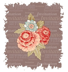Vintage flowers invitation vector