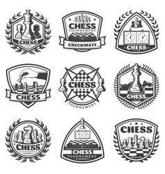 vintage monochrome chess game labels set vector image