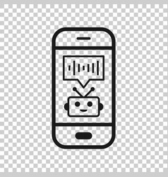 voice assistant on smartphone icon in transparent vector image