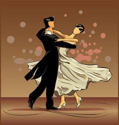 Waltz of love on brown background vector