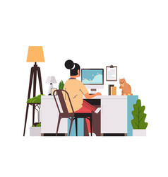 Woman freelancer using computer monitor working vector