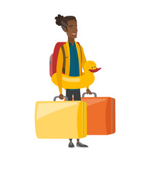 Young african-american traveler in inflatable ring vector