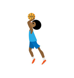Young african basketball player try to throw ball vector