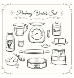 Baking food ingredients and kitchen tools in hand vector