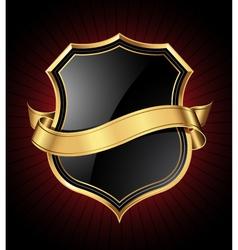 black and gold shield and ribbon vector image