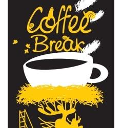coffee in bird nest vector image