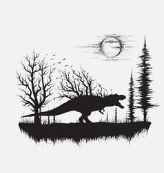 dinosaur t-rex in strange forest vector image