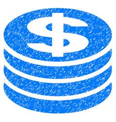 Dollar coin column grunge icon vector