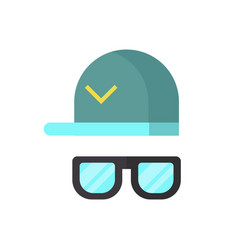 fashion glasses and cool hat vector image vector image