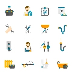 Plumber Flat Icons Set vector image vector image