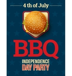 Barbecue party invitation with cheeseburger and vector image